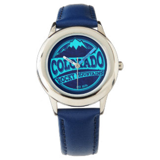 Colorado Rocky Mountains teal blue ink watch