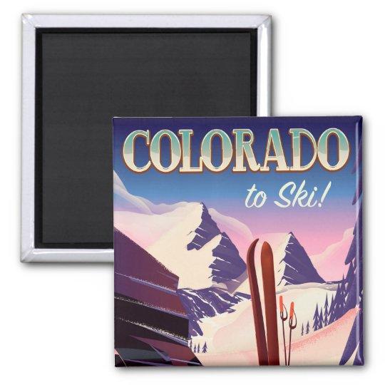 Colorado Ski print - USA vintage ski sports poster Magnet