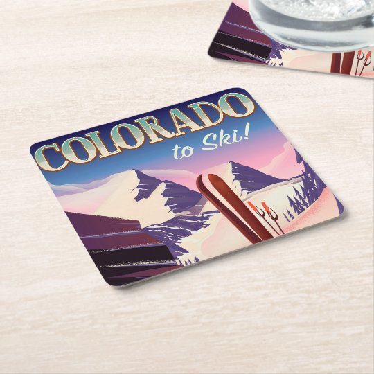 Colorado Ski print - USA vintage ski sports poster Square Paper Coaster
