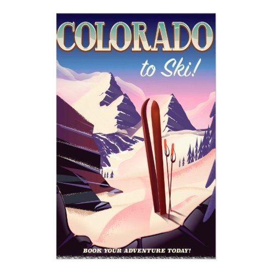 Colorado Ski print - USA vintage ski sports poster Stationery