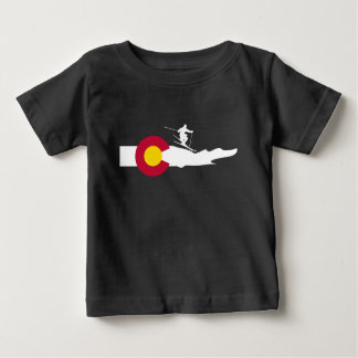 Colorado Ski Skiing Flag Baby T-Shirt