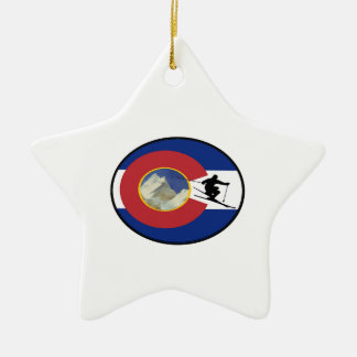 COLORADO SKI TIME CERAMIC ORNAMENT