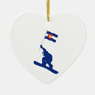 Colorado Snowboard Flag Ceramic Ornament