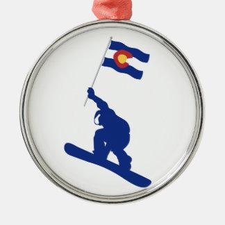 Colorado Snowboard Flag Metal Ornament