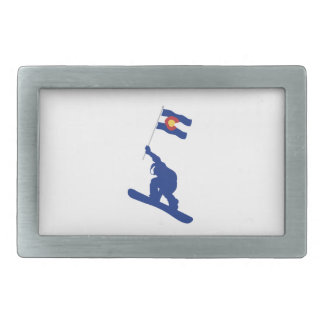 Colorado Snowboard Flag Rectangular Belt Buckles