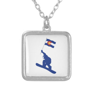 Colorado Snowboard Flag Silver Plated Necklace