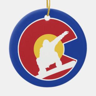 Colorado Snowboard Round Ceramic Ornament