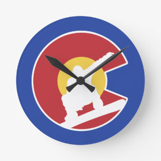 Colorado Snowboard Round Clock