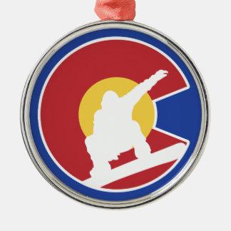 Colorado Snowboard Silver-Colored Round Ornament