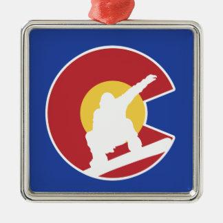 Colorado Snowboard Silver-Colored Square Ornament