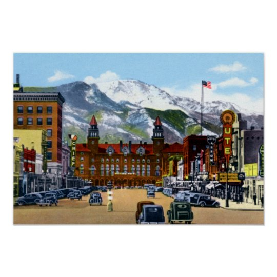 Colorado Springs Colorado Pike Peaks Avenue Poster