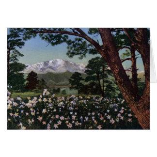 Colorado Springs Colorado Pikes Peak in Spring Card