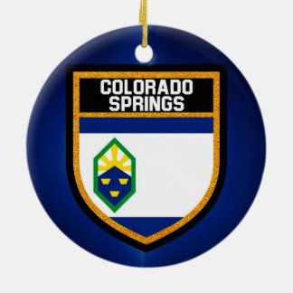 Colorado Springs Flag Round Ceramic Ornament