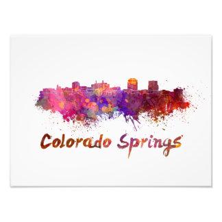 Colorado Springs skyline in watercolor Photo Print