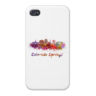 Colorado Springs V2 skyline in watercolor iPhone 4/4S Covers