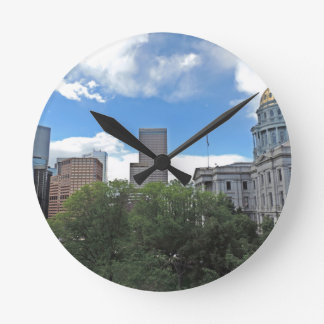 Colorado State Capitol Building with Skyscapers Wallclock