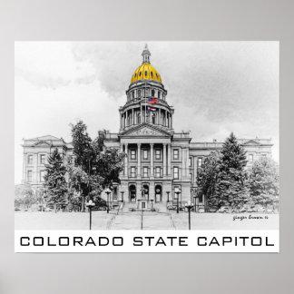 Colorado State Capitol, Gold Dome, Black, White Poster