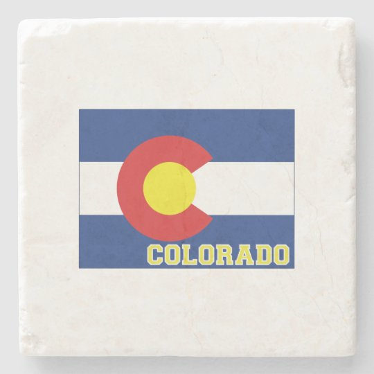 Colorado State Flag and Map Stone Beverage Coaster