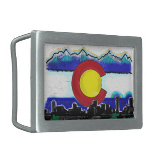 Colorado state flag Denver skyline belt buckle