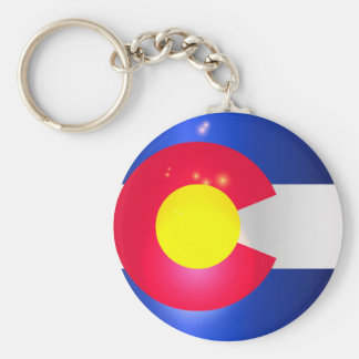 Colorado State Flag Glow Basic Round Button Keychain