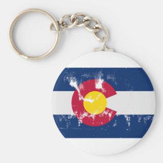 Colorado State Flag Grunge Basic Round Button Keychain