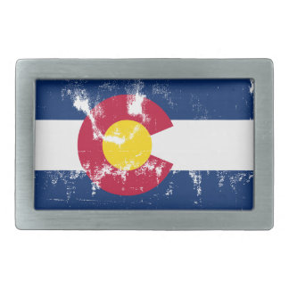 Colorado State Flag Grunge Belt Buckle