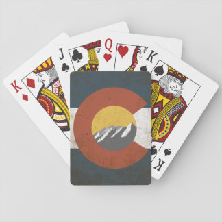Colorado state Flag, Grunge, with Mountains Playing Cards