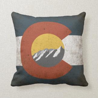 Colorado State Flag, Grunge, with Mountains Throw Pillow