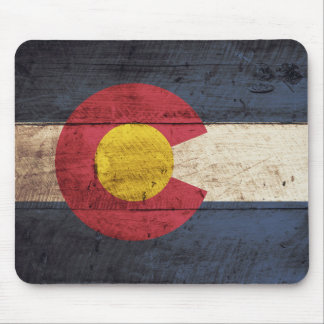 Colorado State Flag on Old Wood Grain Mouse Pad