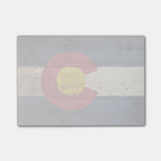 Colorado State Flag on Old Wood Grain Post-it Notes