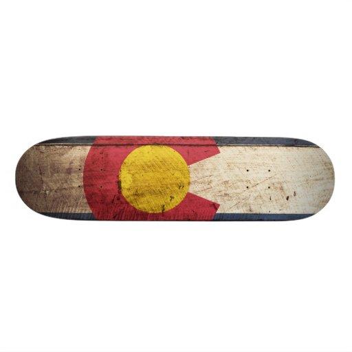 Colorado State Flag on Old Wood Grain Skate Decks