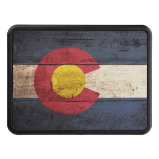 Colorado State Flag on Old Wood Grain Tow Hitch Covers