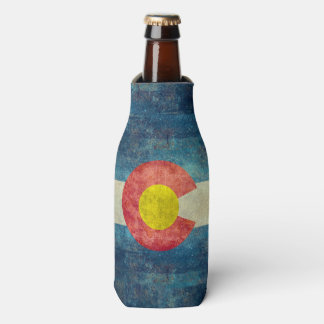 Colorado State flag with vintage retro grungy look Bottle Cooler