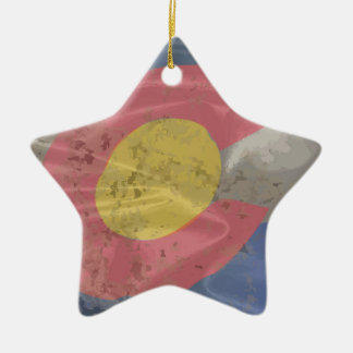 Colorado State Silk Flag Ceramic Ornament