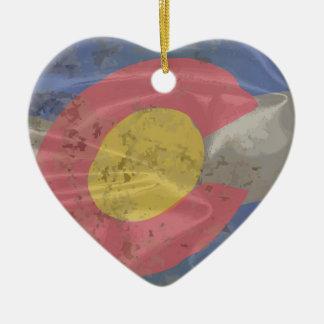 Colorado State Silk Flag Ceramic Ornament