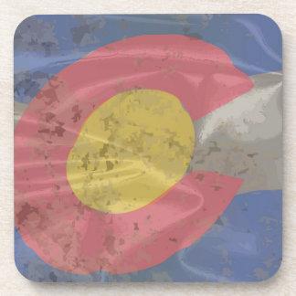 Colorado State Silk Flag Drink Coasters