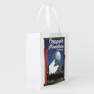 Colorado travel poster Copper Mountain Reusable Grocery Bag