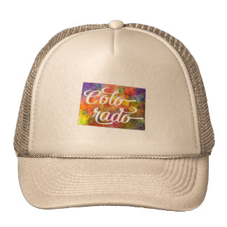 Colorado U.S. State in watercolor text cut out Trucker Hat
