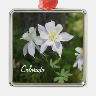 Colorado White Columbine Christmas Ornament