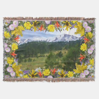 Colorado Wildflowers Border Mountain Scene Throw Blanket
