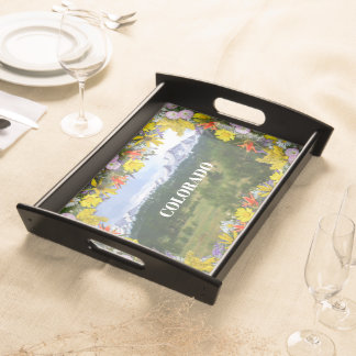 Colorado Wildflowers Snow-capped Mountains Serving Tray