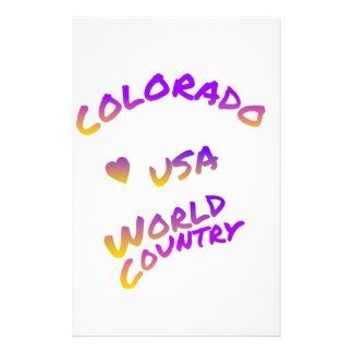 Colorado World Country text color art, USA America Personalized Stationery