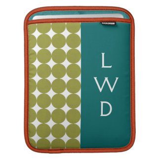 Colorblock Dots Monogram Rickshaw iPad Sleeves