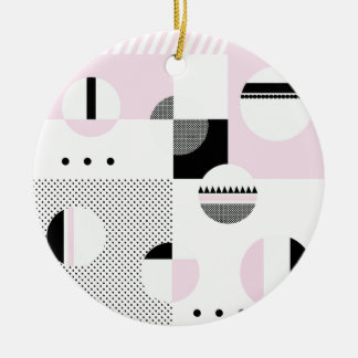 #ColorBlocks Pink & White Round Ceramic Ornament