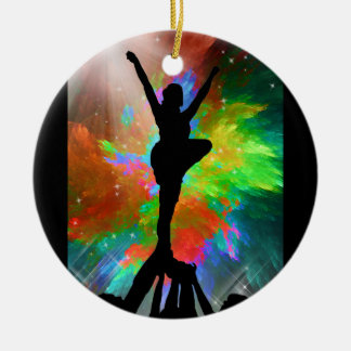 Colorburst Background with Cheerleraders Round Ceramic Ornament