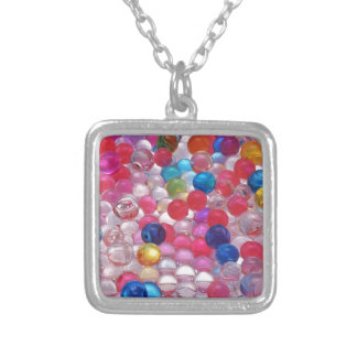 colore jelly balls texture silver plated necklace