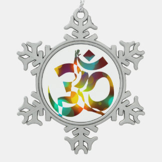 Colored 16 Meditation Snowflake Pewter Christmas Ornament