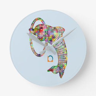 Colored 3D Dolphin Round Clock