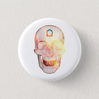 Colored 3d Skull 1 Inch Round Button