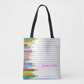 Colored Art Pencils Design Back To School Custom Tote Bag